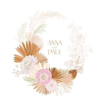 Bruiloft gedroogde lunaria, dalia, pampagras bloemenkrans. vector exotische gedroogde bloemen, palmbladeren boho uitnodigingskaart. aquarel sjabloon frame, gebladerte decoratie, moderne poster, trendy design