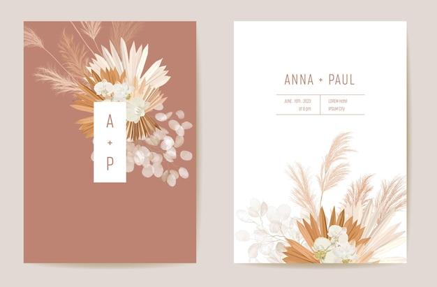 Bruiloft gedroogde lunaria, orchidee, pampagras bloemen vector kaart. exotische gedroogde bloemen, palmbladeren boho uitnodiging. aquarel sjabloon frame. save the date gebladerte cover, moderne poster, trendy design