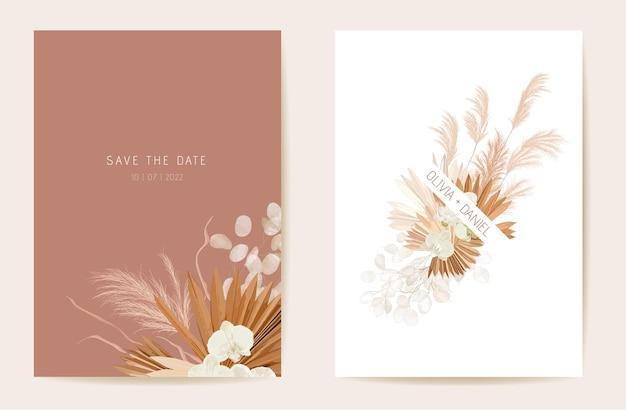 Bruiloft gedroogde lunaria, orchidee, pampagras bloemenuitnodiging. vector exotische gedroogde bloemen, palmbladeren boho kaart. aquarel sjabloon frame. save the date gebladerte cover, moderne poster, trendy design