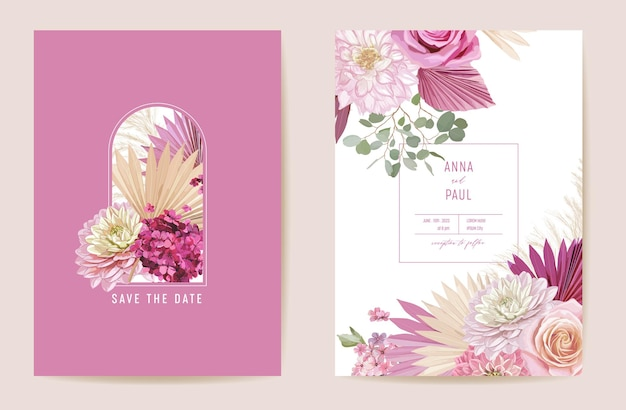Bruiloft gedroogde roos, dahlia, pampagras bloemen save the date set. vector exotische droge bloem, palmbladeren boho uitnodigingskaart. aquarel sjabloon frame, gebladerte omslag, moderne poster, trendy design