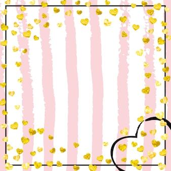 Bruiloft glitter confetti met hart op roze strepen. vallende pailletten met metallic glans. ontwerp met gouden bruiloft glitter voor uitnodiging voor feest, banner, wenskaart, bruids douche.