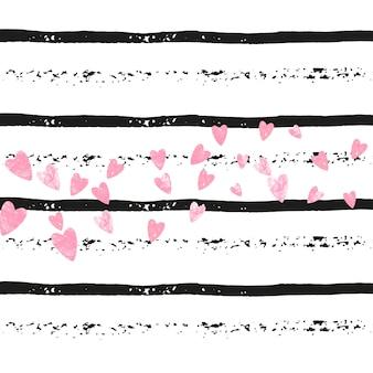Bruiloft glitter confetti met hart op zwarte strepen. glanzende vallende pailletten met glinstering en glitters. ontwerp met gouden bruiloftglitter voor wenskaart, bruidsdouche en bewaar de datumuitnodiging.