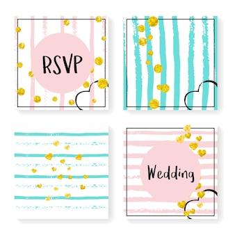Bruiloft glitter confetti op strepen. uitnodiging instellen. gouden hartjes en stippen op roze en mint achtergrond. ontwerp met bruiloftglitter voor feest, evenement, vrijgezellenfeest, bewaar de datumkaart.