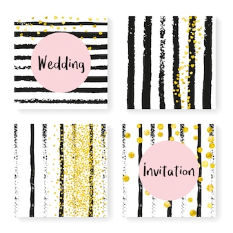 Bruiloft glitter confetti op strepen, uitnodiging set