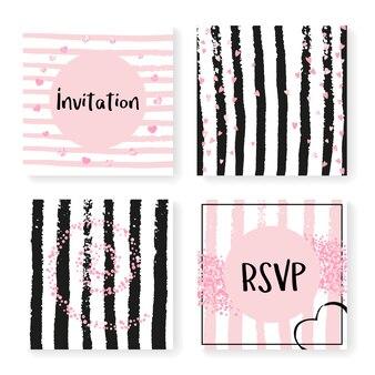 Bruiloft glitter confetti op strepen, uitnodiging sjabloon