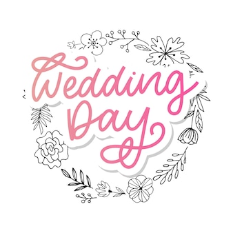 Bruiloft hand belettering teken kalligrafie tekst borstel slogan
