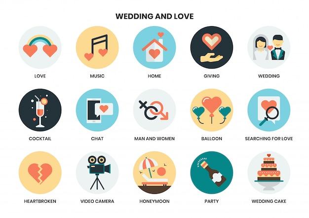 Bruiloft icon set