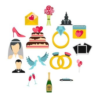 Bruiloft iconen set, vlakke stijl