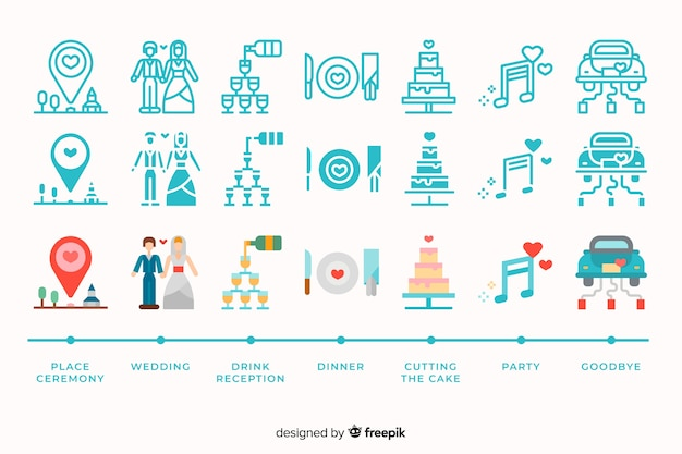 Bruiloft icoon collectie met schattige illustraties