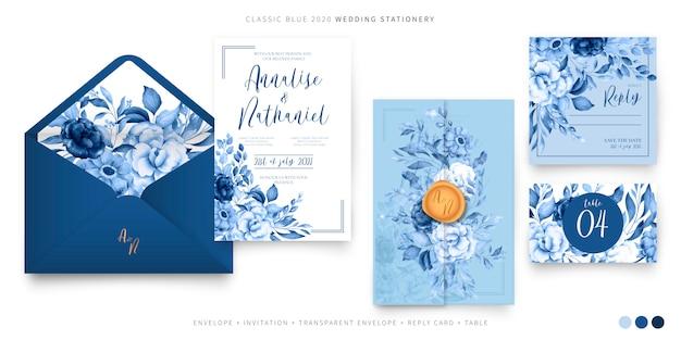 Bruiloft ingesteld sjabloon in klassiek blauw