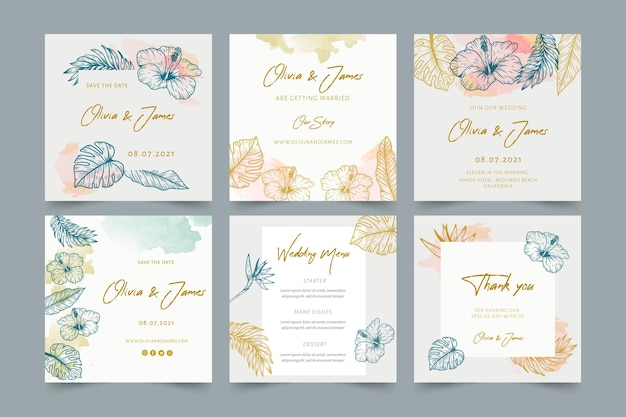 Bruiloft instagram-berichten met florale versieringen