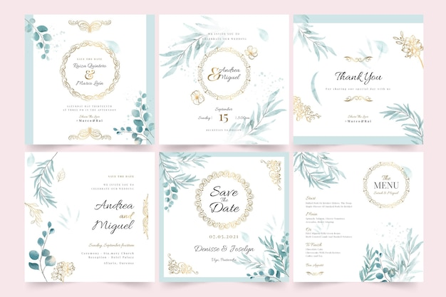 Bruiloft instagram post collectie
