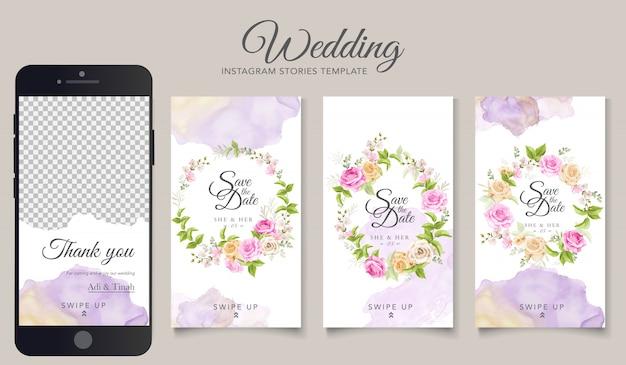Bruiloft instagram verhalen sjabloon Gratis Vector