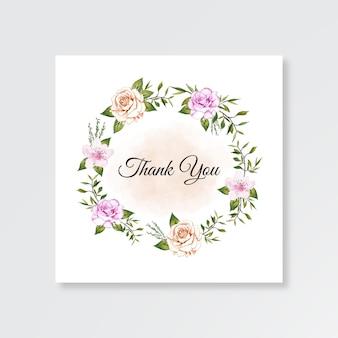 Bruiloft kaart bedankt sjabloon met aquarel bloemen