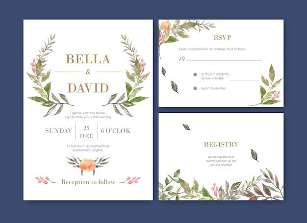 Bruiloft kaart bloem aquarel, bedankt kaart, uitnodiging huwelijk illustratie