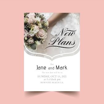 Bruiloft kaart concept uitgesteld