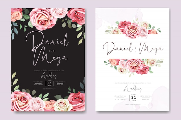 Bruiloft kaart en uitnodigingskaart met mooie rozen sjabloon