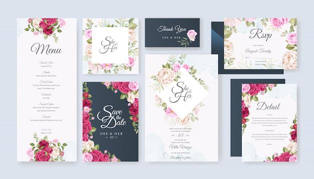 Bruiloft kaart ingesteld sjabloon met prachtige bloemen en bladeren