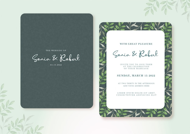 Bruiloft kaart ingesteld sjabloon met prachtige groene bladeren aquarel