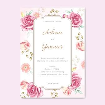 Bruiloft kaart met aquarel bloemen
