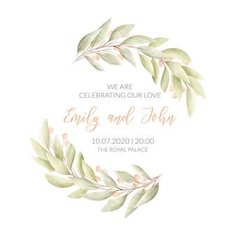 Bruiloft kaart met bloemen frame