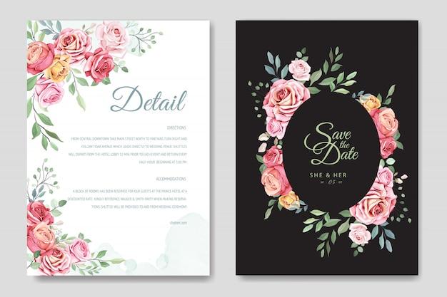 Bruiloft kaart met elegante bloemen en bladeren sjabloon