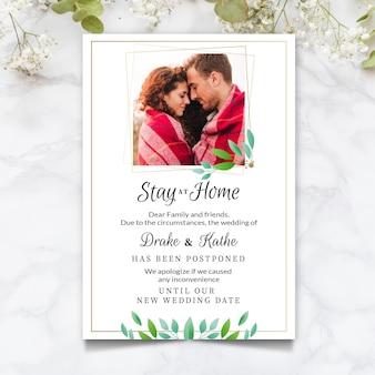 Bruiloft kaart met foto uitgesteld