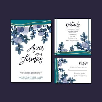 Bruiloft kaart met herfst bloem conceptontwerp voor sjabloon en uitnodigingskaart