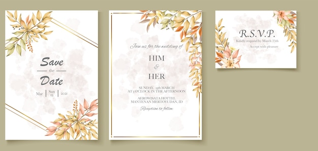 Bruiloft kaart met herfstbladeren