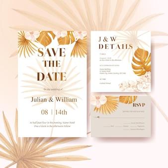 Bruiloft kaart met pampa bloemen aquarel
