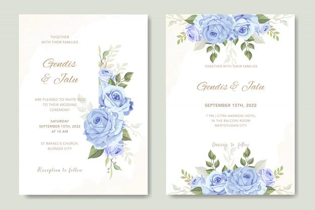 Bruiloft kaart met prachtige bloemen aquarel sjabloon
