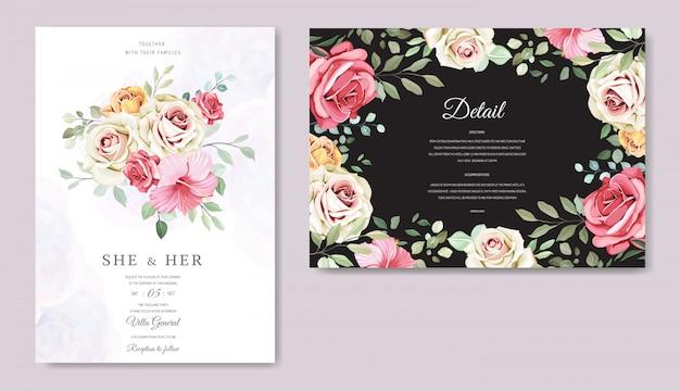 Bruiloft kaart met prachtige bloemen sjabloon