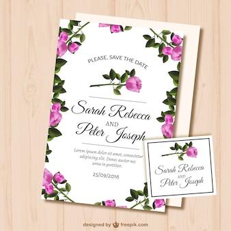 Bruiloft kaart met rozen
