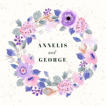 Bruiloft kaart met zachte paarse roze bloemen aquarel krans