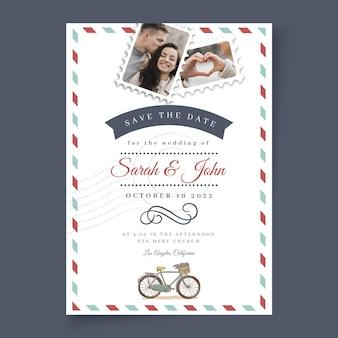 Bruiloft kaart minimale stijlsjabloon