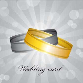 Bruiloft kaart over grijze achtergrond vectorillustratie