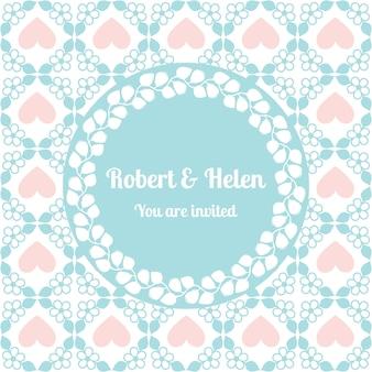 Bruiloft kaart schattig patroon met florale frame