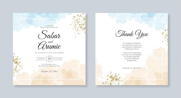 Bruiloft kaart set sjabloon aquarel vlek