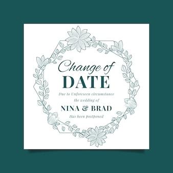 Bruiloft kaart uitgesteld