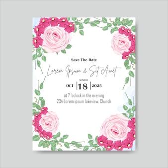 Bruiloft kaart uitnodiging hand getrokken bloemen