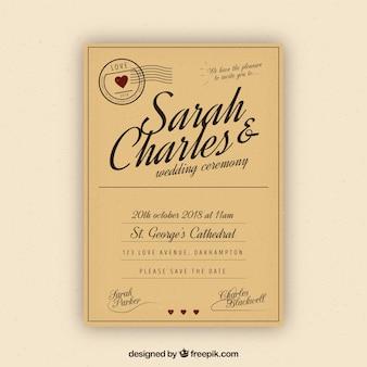 Bruiloft kaart uitnodiging met vintage stijl