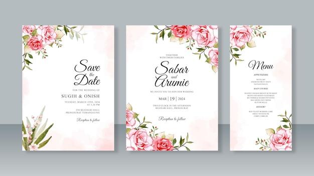 Bruiloft kaart uitnodiging set sjabloon met aquarel bloemen en splash