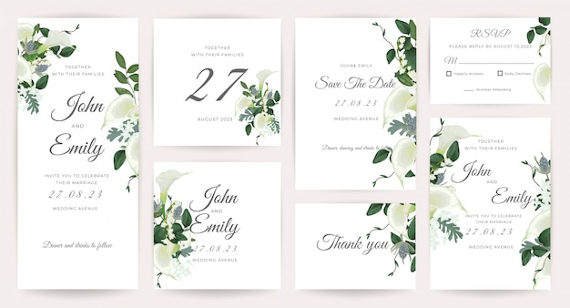 Bruiloft kaart uitnodiging sjabloon collectie