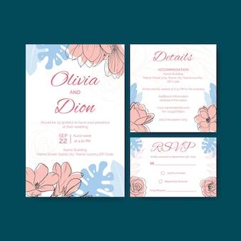 Bruiloft kaart uitnodiging sjabloon met lente lijn kunst conceptontwerp aquarel illustratie