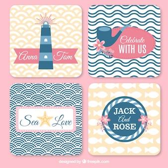 Bruiloft kaarten met sailor elementen