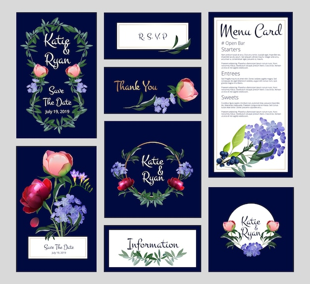 Bruiloft kaarten. uitnodiging, menusjabloon banners met gouden kaders, bloemen en planten.