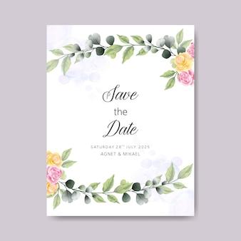 Bruiloft kaarten uitnodiging met prachtige bloemen sjabloon