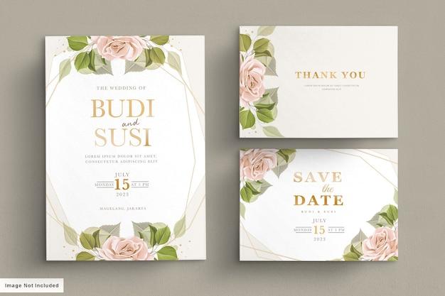 Bruiloft kaartenset met prachtige bloemen en bladeren