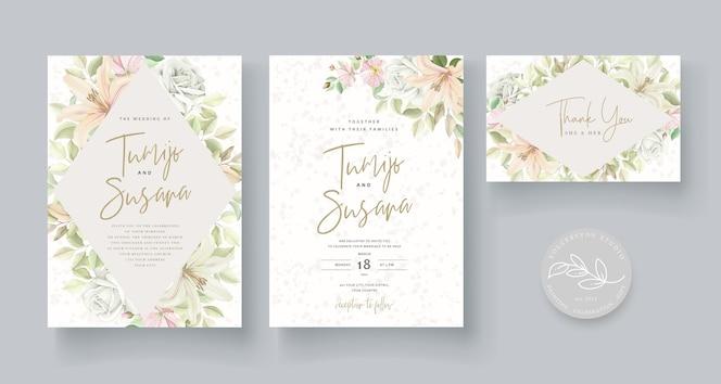 Bruiloft kaartsjabloon bloemdessin