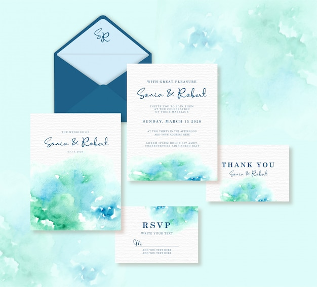 Bruiloft kaartsjabloon ingesteld met blauwe en groene splash aquarel achtergrond